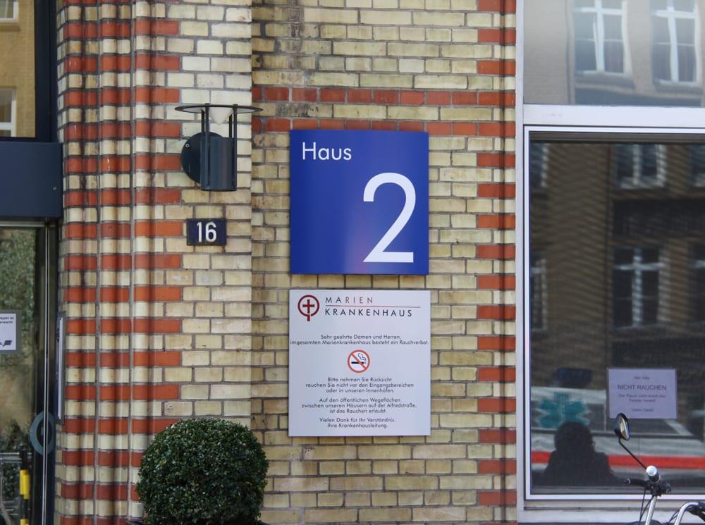 Marienkrankenhaus Wandschild Zielinformation Interior Kliniken