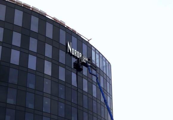 Nordport Plaza Leuchtwerbeanlage Montage