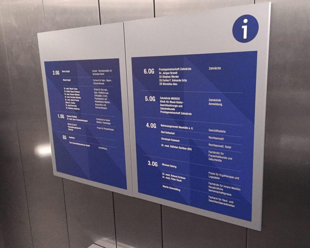 NWI Ärztehaus Orientierungssystem Messenger Interior Geschossuebersicht