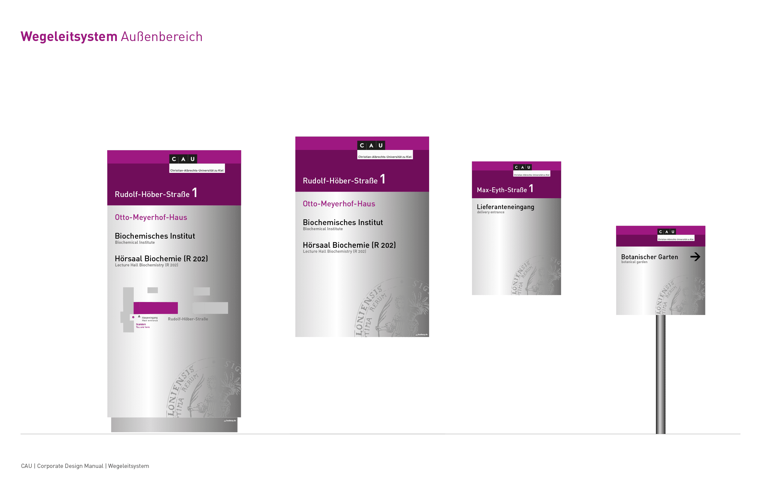 CAU Kiel Leitsystem Außen Signfamily