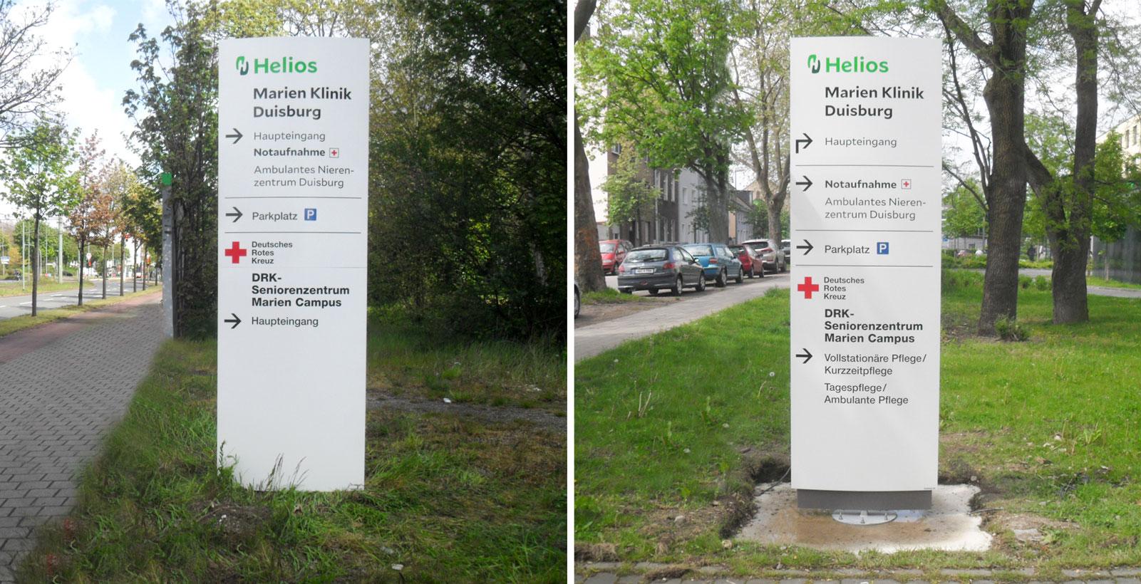 Marienkrankenhaus Monolith Leitsystem Exterior Kliniken